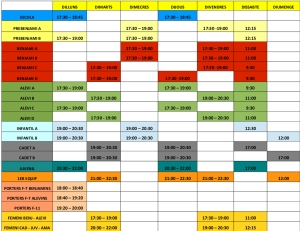 Horaris entrenaments 2015-2016