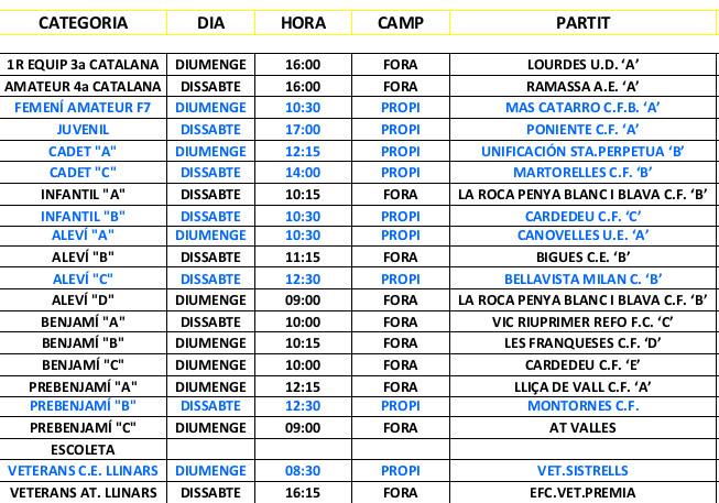 PARTITS 18 - 19 DE MARÇ